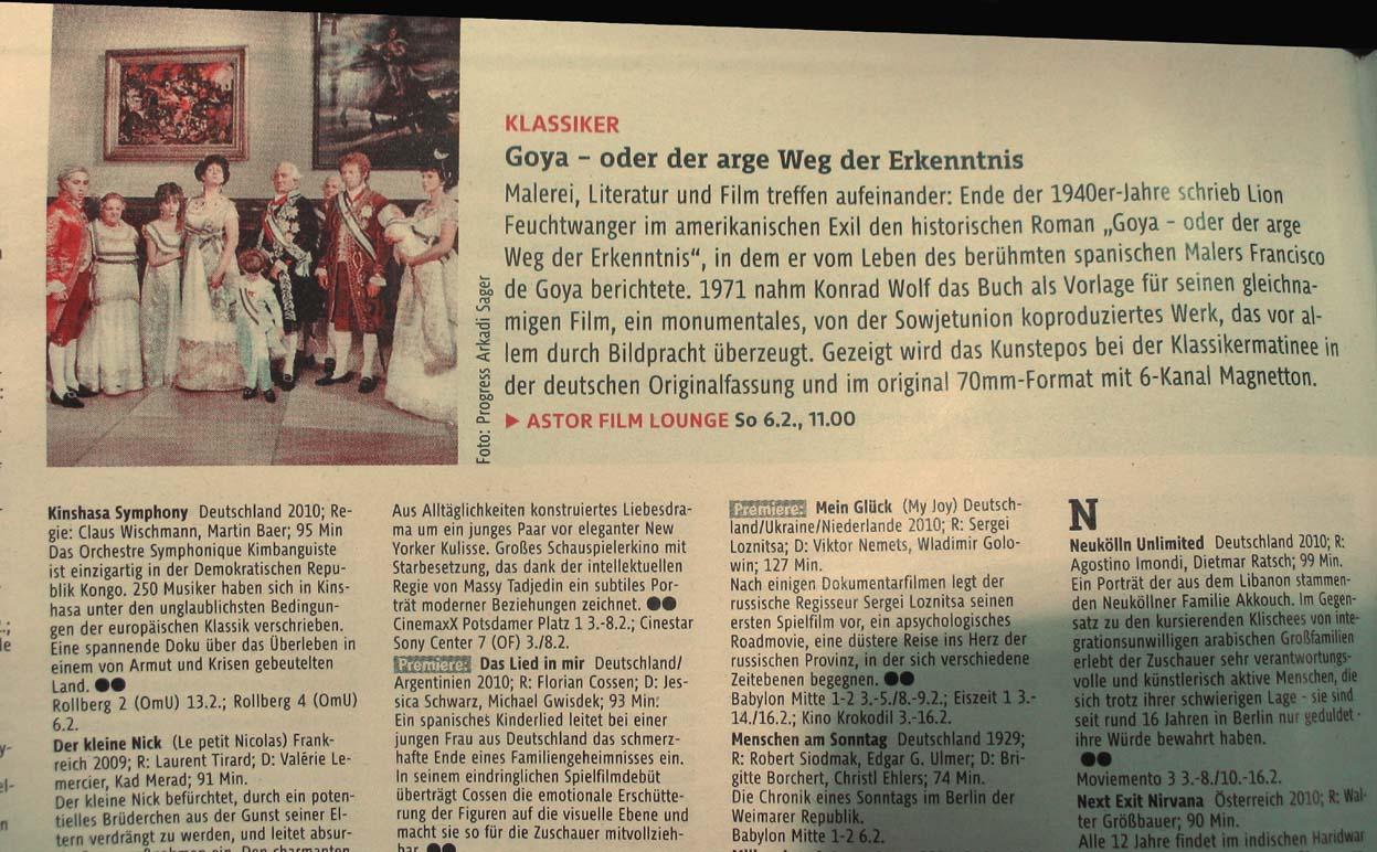 """40 Jahre """"G o y a"""" - 70mm-Hommage in der ASTOR FILMLOUNGE Berlin am 6.2.2011,  11.00 Uhr"""